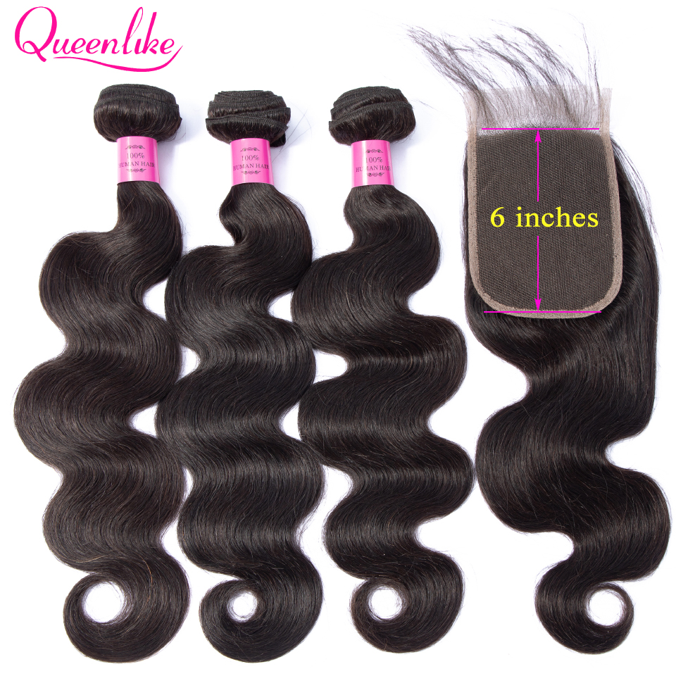 Queenlike 3 Bundles With 4x6 Lace Closure 100 Human Hair Non Remy Brazilian Hair Weave Body