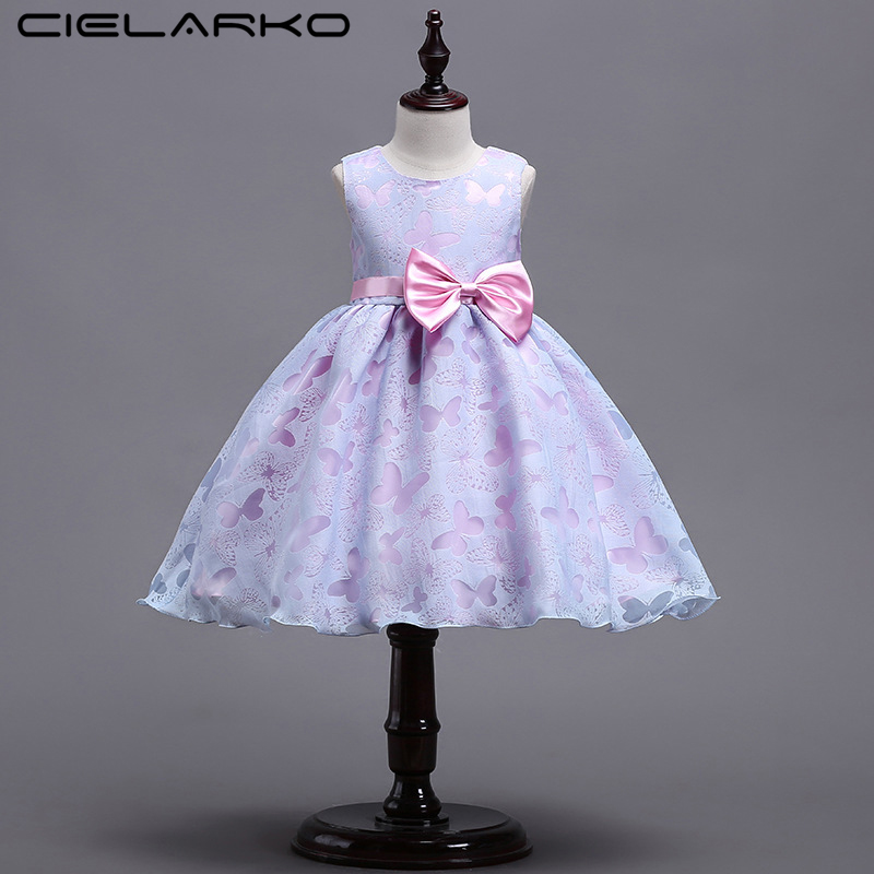Cielarko Girls Dress Butterfly Princess Pageant Dresses Bow Kids Birthday Party Frock Summer Children Clothing Baby Purple Dress girls europe the united states children princess long sleeved purple lace flower dress female costume kids clothing bow purple