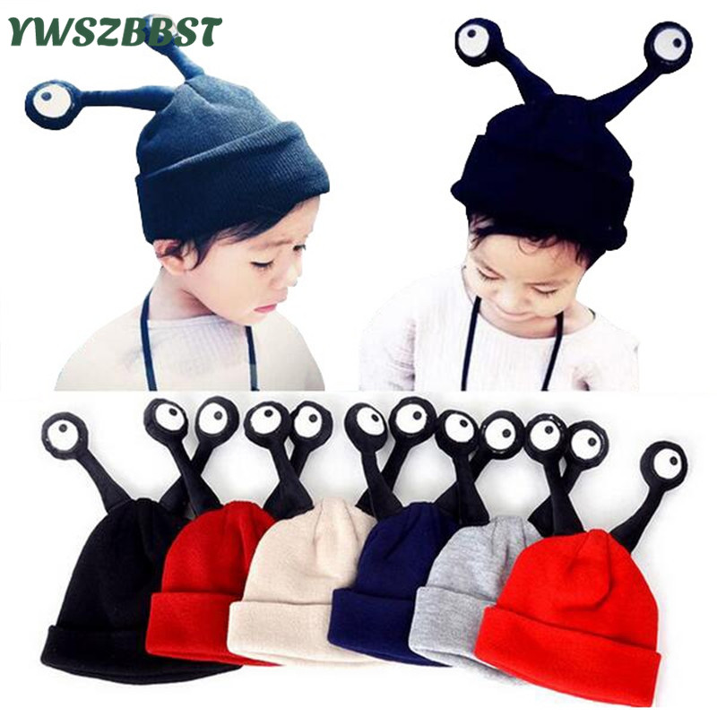 Baby Warm Hat Cartoon Hat Two Antennae Insect Eyes Children Cap Baby Caps for Boys 2-9 Y Kids Winter Knitted Hat Girl Beanie Cap