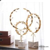 Аксессуары для украшения дома белый мрамор стенд сусальное золото розовый Агат каменный цветок luxury бар украшения maison