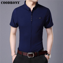 COODRONY Cotton Shirt Men Business Casual Shirts Spring Summer Short Sleeve With Pocket Camisa Masculina Blouse S96003