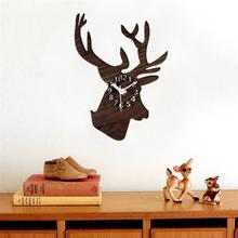 European Classic Silent Wall Clock Cool Rural Wooden Deer Head Clock Wall Decoration Gift