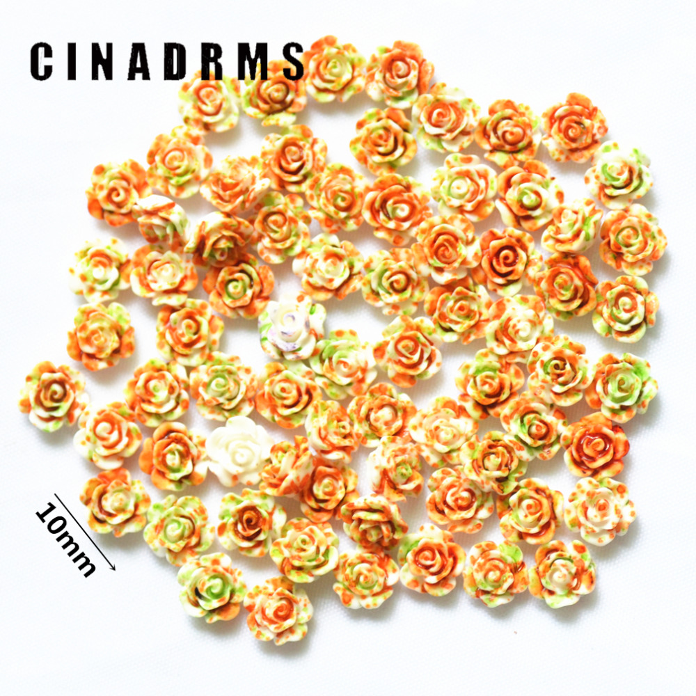 10mm 100PCS/Pack Tiny Fancy Orange-green Color Resin Flowers,Resin Flatback Flowers,Flower Miniatures Embellishments