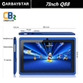 6 Cores 8 GB Q88 7 polegada Tablet PC Android Allwinner A33 Quad-Core 8 GB 1024x600 Dual Camera WIFI 2800 mAh tablet Computador