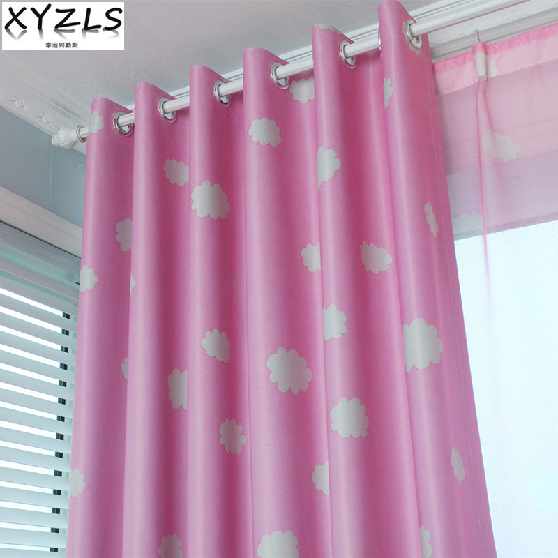 Curtain Cute Living Room Valances For Your Home: XYZLS Cute Clouds Pink Cotinas Tulle Curtain Blackout