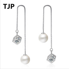 Everoyal Top Quality Silver 925 Earrings For Women Jewelry Vintage Cube Pearl Girls Long Tassel Accessories