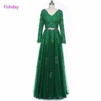 Dài Tay Áo A line Mint Emerald Xanh Ren Tulle Đính Cườm Evening Dresses Formal Appliques Dịp Đặc Biệt Vestido Longo B20