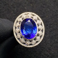 Fine Jewelry Tanzania Origin Real 18K White Gold 100% Natural Blue Tanzanite Gemstones Diamonds Fine Chic Pendant Necklace