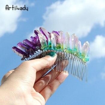 Artilady surowy kwarcowy grzebień do włosów ślubne Tiara ślubne z pałąkiem na głowę kryształ grzebień akcesoria do włosów dla nowożeńców uzdrowienie biżuteria ślubna
