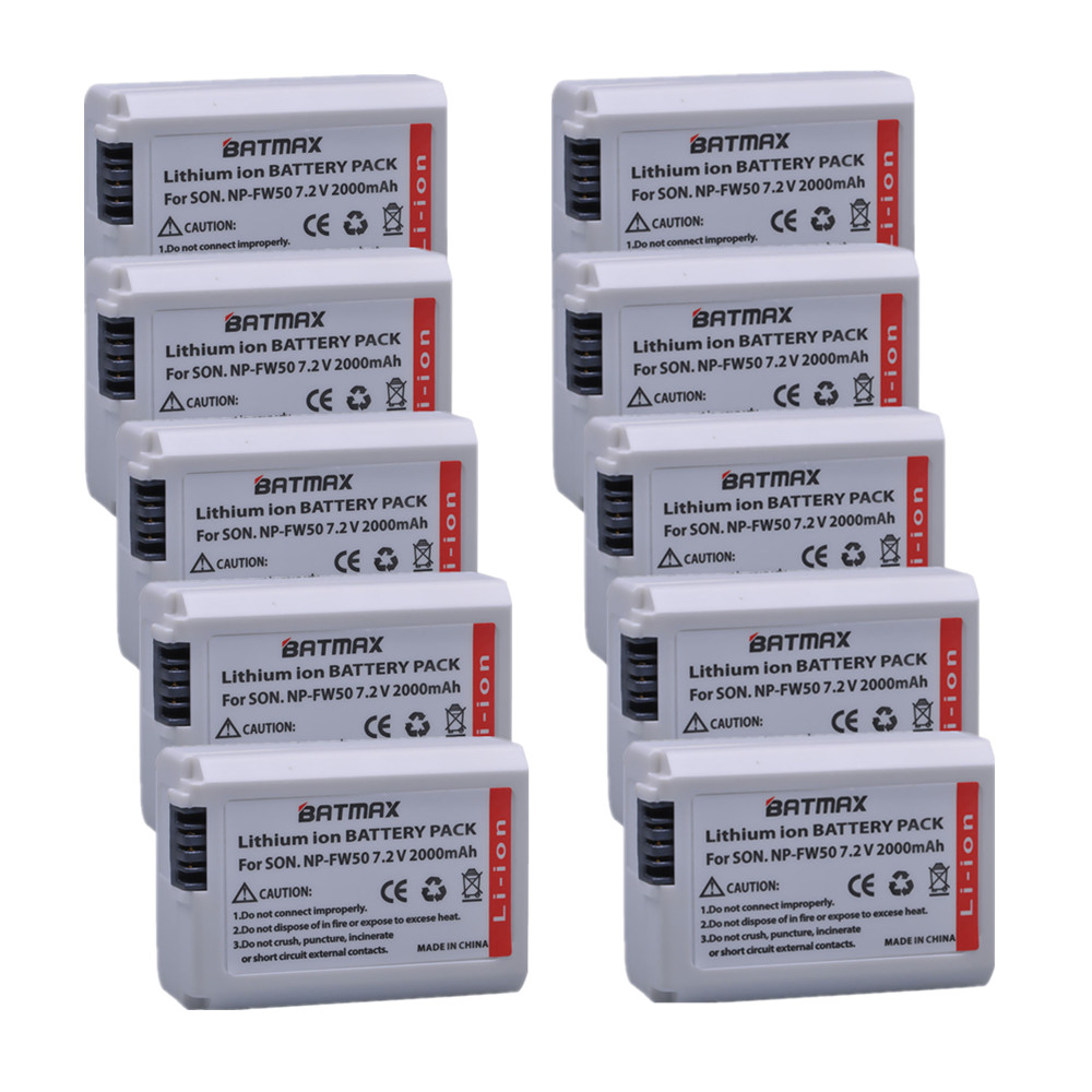 10pcs 2000mAh NP-FW50 NP FW50 Replacement Battery for Sony a37 a5100 NEX5T NEX5R X-7 NEX6 NEX-5N NEX5C NEX3N NEX3CV a33 a35 a37