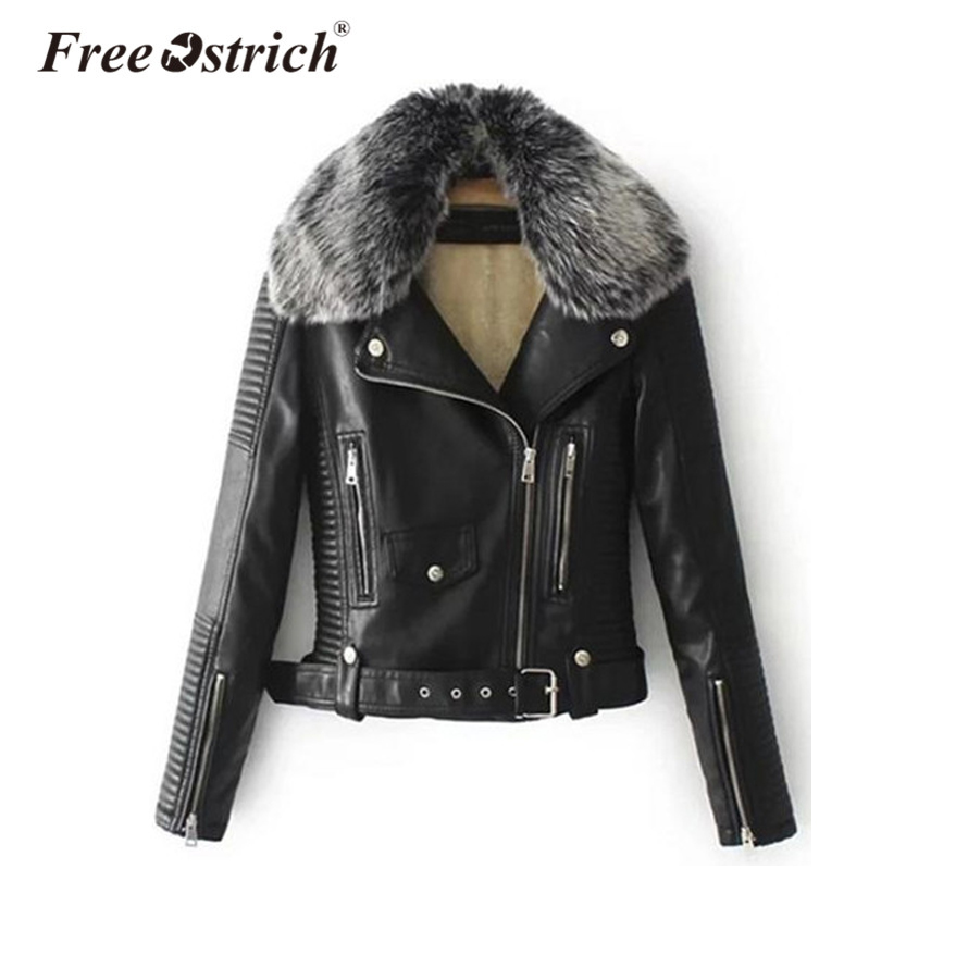 Free Ostrich 2018 fur collar   basic     jacket   coat outerwear coats Streetwear faux leather coat female PU leather   jacket   women Sep21