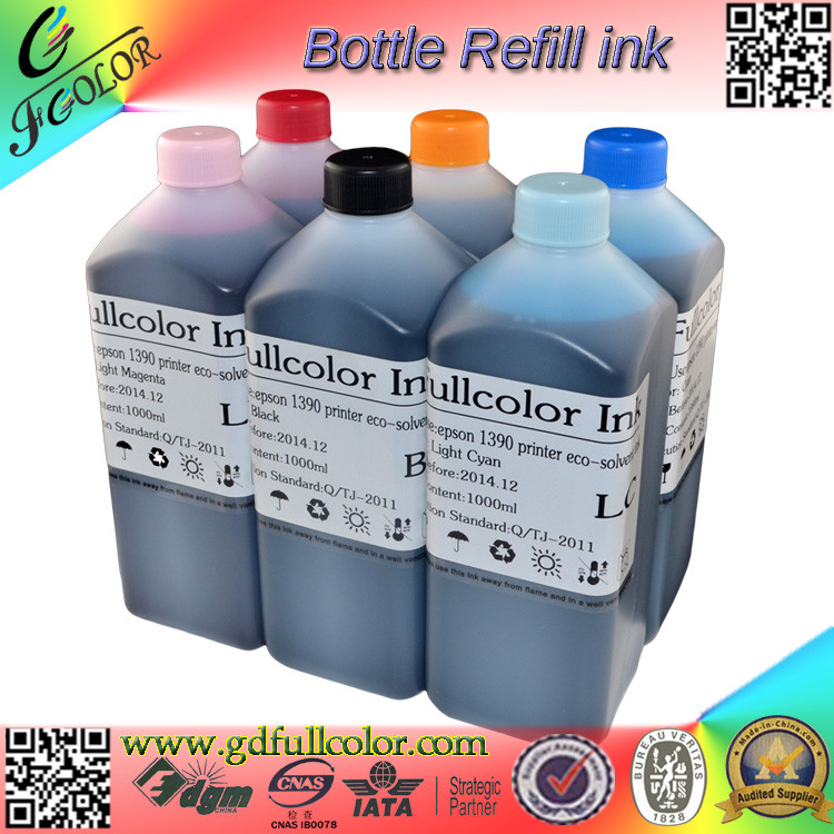 Free shipping! Top qualilty eco-solvent ink compatible for Epson 1390  PU PET heat transfer printing free shipping 4color set water based sublimation ink for epson xp200 xp300 xp400 wf2520 wf2530 wf2540 heat transfer print