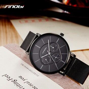 SINOBI Multifunctionele Fashion Zwarte Vrouwen Horloge 2018 Week Display Ultra Quartz Horloge Vrouw Jurk Dame Horloge Sieraden Montre Femme
