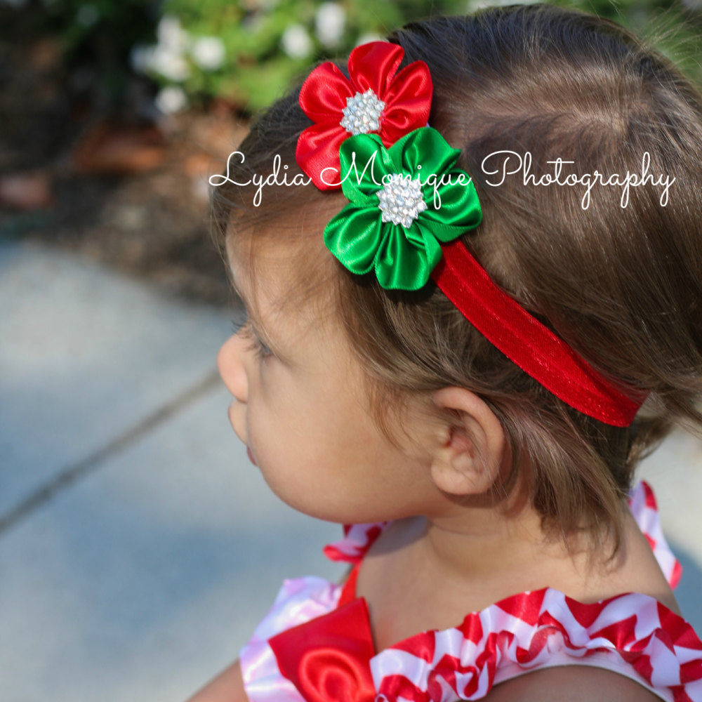 Mother & Kids New Christmas Style Baby Grils Headbands Elastic Infant Hair Accessories Cute Red Green Flower Accessories