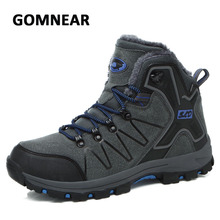 GOMNEAR Breathable Hiking Shoes Men Winter Sneakers Plus Fur Warm Mountain Climbing Shoes Trekking Walking Outdoor Hiking Boot