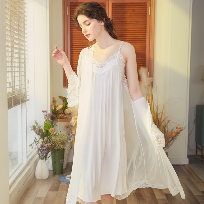 2019 Summer Women Sleepwear Robe Femme Robe Gown Set Sleep Lounge Sweet Princess Nightwear Bathrobe Nightdress