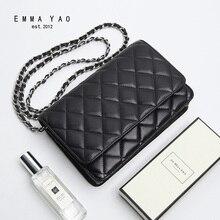 EMMA YAO women bag sheepskin bag leather women messenger bags famous brand crossbody bag