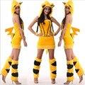 2017 Новый Сексуальный Желтый кот костюмы девушки Хэллоуин плюшевые демон кошка дамы костюм party dress плюшевых животных косплей одежда