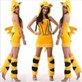 2017 New Sexy Yellow cat girl Halloween costumes plush demon cat ladies costume party dress plush animal cosplay clothing