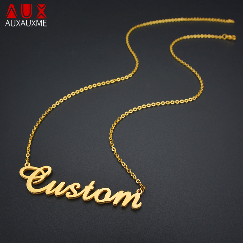 Auxauxme Name Necklace Stainless Steel Custom Name Pendant& Necklace Personlized Gift For Women Men Customized Jewelry