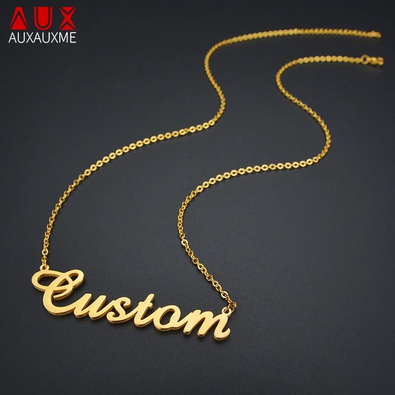 bced71c75548 Color  oro y plata personalizada nombre personalizado COLLAR COLGANTE  personalizado cursiva Placa de las mujeres