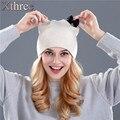 1xthree de piel de Conejo de lana de punto sombrero de invierno primavera Skullies gorros sombrero para las mujeres niñas gatito sombrero femenino