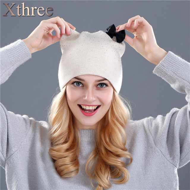 Xthree кролика шерсть вязаная шапка зима весна Skullies шапочки hat для женщин девушки котенок шляпа feminino