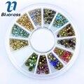 Cor azul 12 encantos de várias cores 3D Nail Art decoração strass acrílico para unhas Manicure suprimentos ZP191