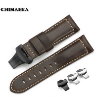 CHIMAERA 24mm Dark Brown Assolutamente Italy Leather Vintage Watch Band Bracelet Deployment Buckle For Panerai Watch