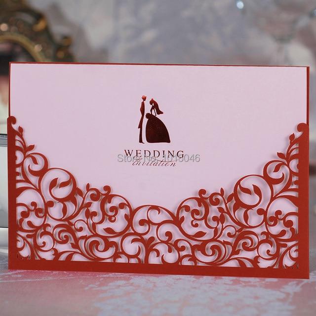 envo gratis 20x rojo cortado con lser tarjeta de invitacin de boda personalizada con el sobre