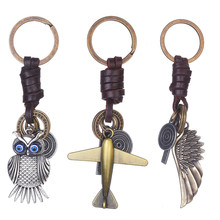 Vintage Alloy Key Chains Owl/Angel Wing/Airplane Key Ring Keychain Leather Car Keys Holders Fashion Jewelry Gift @C40