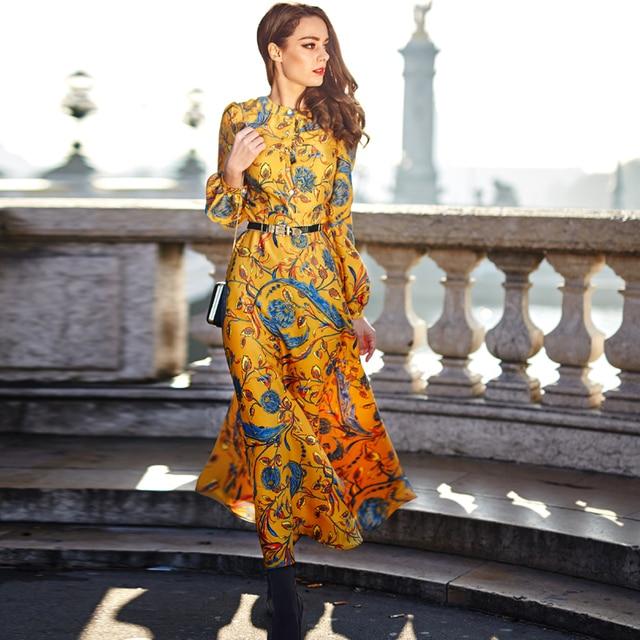 83cbb7479ad New Fashion 2018 Fall Runway Maxi Dress Women s Long Sleeve Yellow Gorgeous  Floral Print Plus size