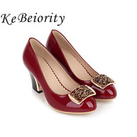 Plus Size 34 43 Thick High Heels Women Shoes Elegant Platform Ladies Shoes Zapatos Mujer Women