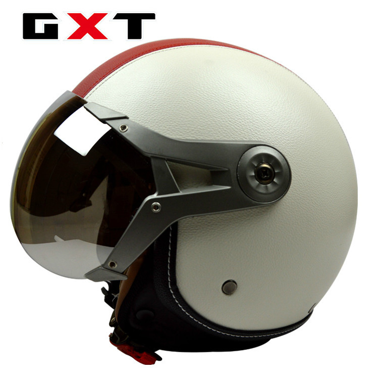 Fashion brand GXT motorcycle helmet retro 3/4 helmet vintage scooter open face helmet moto casco PU leather motocicleta capacete ...