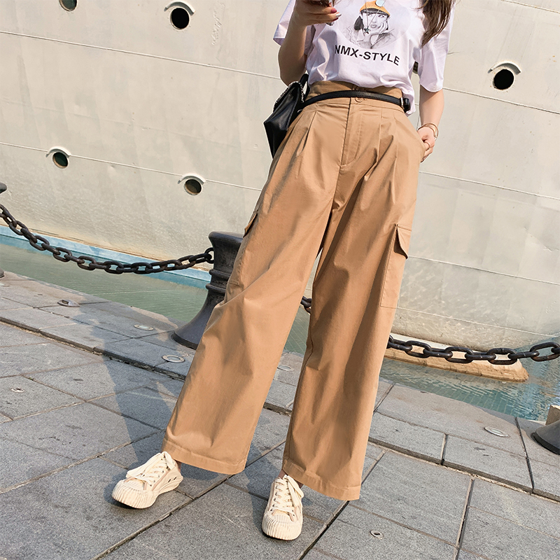 Mishow 2019 Summer New Collection  Solid Pocket Baggy High Waist Wide Leg Cargo Pants Full Length Pants MX19B2539