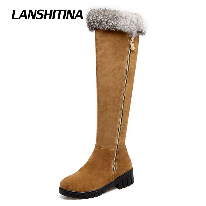 LANSHITINA Women Over Knee Boots Long Boot Warm Shoes Winter Autum Flat Botas Mujer Snow Boots Fur Fashion Round Toe Shoes Boots karinluna women half knee snow boots rubber sole round toe platform warm fur shoes winter ladies footwear bootas mujer