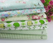 hot deal buy delicate (50cmx50cm) green fat quarter bundle 100% cotton fabric quilting fabric home textile bedding sewing doll cloth diy