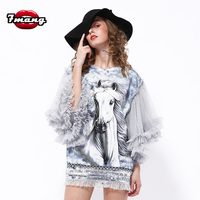 2016 Spring Women S Novelty Harajuku Gray Half Mesh Butterfly Sleeve With Animal Horse Print Dress