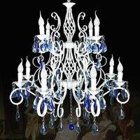 Tactical Wrough Iron Light Blue Lustres Crystal Chandelier Arana Blanca Vintage Antique Glass Vernge Pendant Lampes