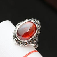 Ecoworld Ge jewelry wholesale 925 sterling silver inlaid silver retro opening Nvjie pomegranate red food zirconium ring