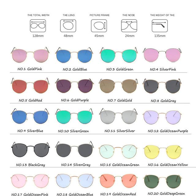 Vintage Oval Classic Mirror Lenses Sunglasses