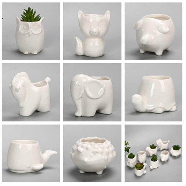 Us 1499 4 Sztukpartia śliczne Mini Zwierząt Biały Ceramiczny Sadzarka Puli Sowa Kot Kształt Doniczkowe Sukulenty Rośliny Kwiaty Ogrodnictwo Piękny