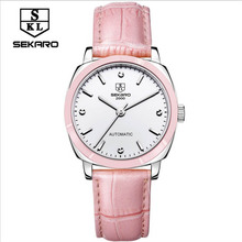 2017 SEKARO Mechanical Hand Wind Women Watches Lady Fashion Casual Rhinestone Skeleton Dial analog Wristwatches Leather Strap