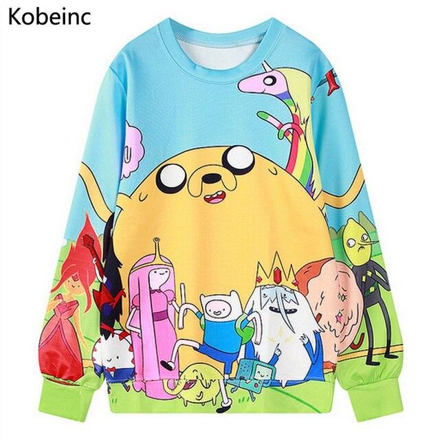 Lovely Cartoon Printing Sweatshirt Round Neck Long Sleeve Pullover 2017 Autumn Women Sweatshirts Fashoin Adventure Time Sudadera