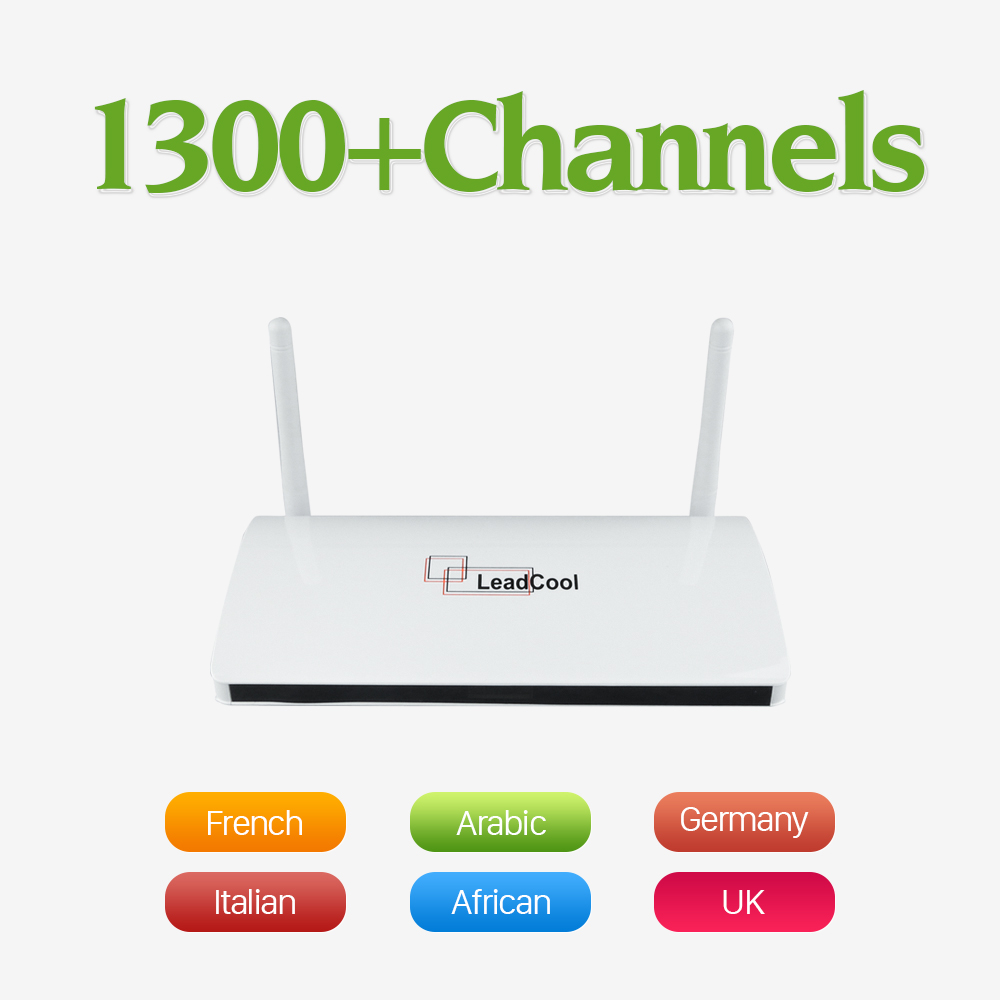 Leadcool Android TV Box 1300 Europe Arabic IPTV 1 year Subscription max Italy Portugal French IPTV Receiver Set Top Box iptv streaming box leadcool android wifi 1g 8g include 1700 italy portugal french receiver europe arabic channels package