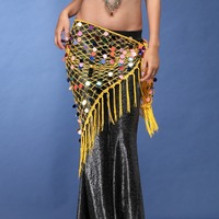 Cheap Belly Dance Training Clothes Accessories Stretchy Long Tassel Triangle Belt Hand Crochet Sequin Belly Dance