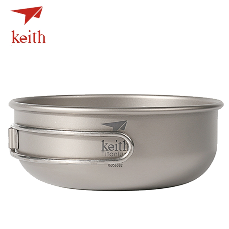 Keith Titanium Folding Bowl Ultralight Camping Cookware Tableware Cutlery Picnic Cooking Bowls Outdoor Travel Hiking Utensils
