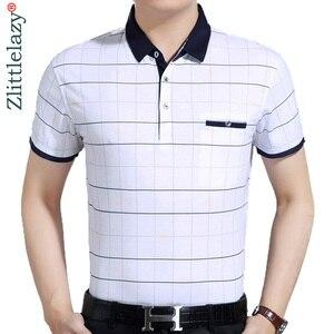 2019 عارضة قصيرة الأكمام الأعمال قمصان رجالي الذكور منقوشة أزياء العلامة التجارية قميص بولو مصمم الرجال تنيس بولو camisa الاجتماعية 7058