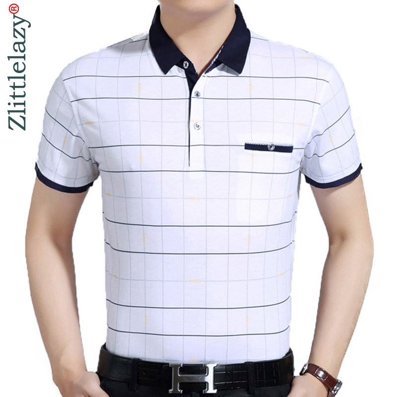 2019 Casual Kurzarm Business Herren Shirts Männlichen Plaid Mode Marke Polo-shirt Designer Männer Tenis Polos Camisa Sozialen 7058
