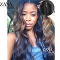 7A Silk Top Full Lace Human Hair Wigs Ombre Highlight 1b/30 Brazilian Hair Body Wave Silk Base Lace Front Wig Natural Hairline